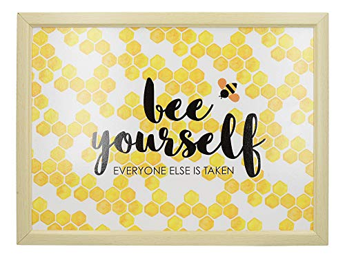Creative Tops OTT Bean Bag Lap Tray with Cushion, 'Bee Yourself', Yellow, 43.5 x 32.5 cm