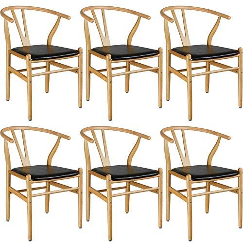 TecTake 800777 6er Set Designer Holzstuhl, mit geschwungener Rückenlehne, Sitzfläche in Lederoptik - Diverse Farben - (Natur | Nr. 403526)