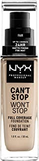 NYX PROFESSIONAL MAKEUP Can't Stop Won't Stop Full Coverage Foundation, Fair, 1 Fluid Ounce