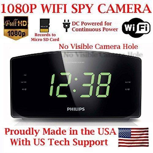 AES 1080P HD WiFi Alarm Clock Radio Spy Camera Wireless IP P2P Covert Hidden Nanny Camera Spy Gadget (1080P WI-FI Model)