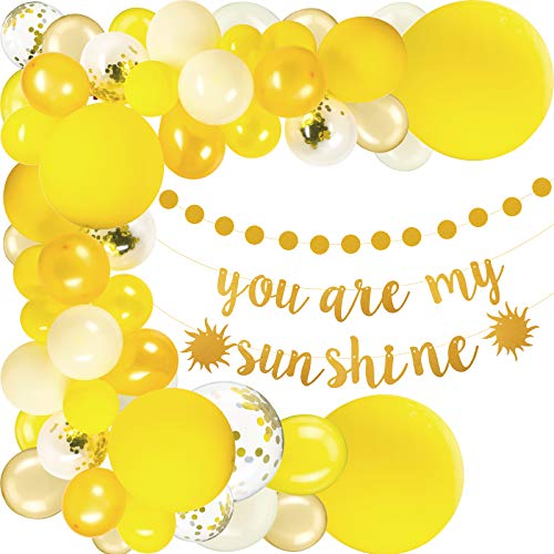 Sunflower Baby Shower Decorations, Sunflower Balloon Garland Arch Kit with Balloons, You Are My Sunshine Gold Banner, Baby Foil Balloon, Gold Circular Dot Garlands for Bee Theme Decor Birthday Party