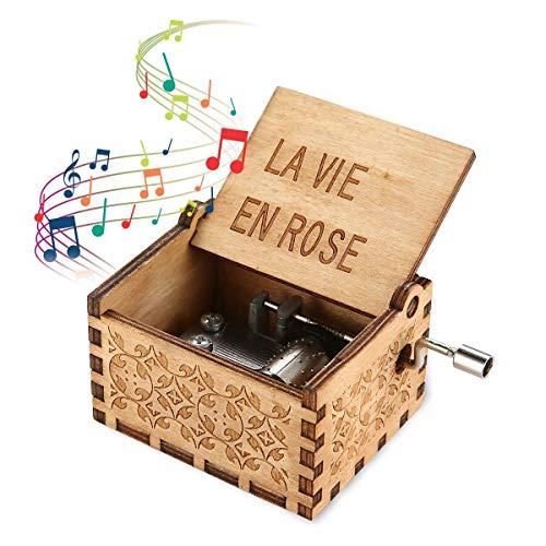 Womdee Music Box La Vie En Rose Tema, Carillon Classico in Legno con Manovella, Meccanismo a 18 Note...