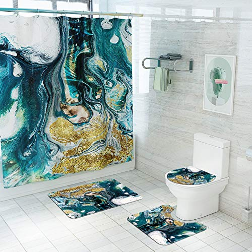 BATEER 4 Piece Abstract Jadeite Pattern Shower Curtain Sets with Non-Slip Rugs, Toilet Lid Cover and Bath Mat, Natural Shower Curtain with 12 Hooks, Durable Waterproof Shower Curtain