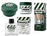 Blaireau à raser Proraso + Crème Avant Rasage Proraso + Savon à raser Proraso + Baume après rasage Proraso sans alcool. Pour tous les types de barbes et de peaux.