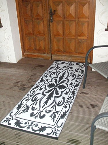 Deko-Impression Balkonteppich, Outdoor-Teppich, wetterfest, 70 x 200 cm schwarz-Weiss