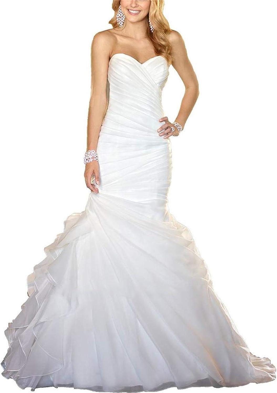Wanshaqin Women's Mermaid Pleated Bridal Ball Gown Organza Ruffles Sweep Train Wedding Dress Lace Up Back