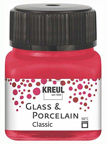 Kreul 16206 - Glass und Porcelain Classic, brillante Glas- und Porzellanmalfarbe auf Wasserbasis, schnelltrocknend, deckend, 20 ml im Glas, karminrot