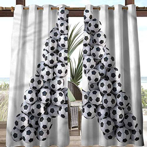 Letter A Polyester Decoration Outdoor Sheer Curtains Thermal Insulated Blackout Outdoor Gazebo Pool Soccer Balls Capital A 96' W by 84' L(K245cm x G214cm)