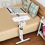 lqgpsx Verstellbarer Sofa-Beistelltisch, rollender Tabletttisch für medizinische Anwendungen, tragbarer Laptop-Schreibtisch, Weiß, 64 * 40 * 95 cm