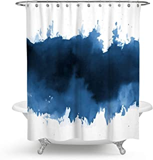 QCWN Ink Blue Shower Curtain,Blue Indigo Watercolor Splashes Brush Design Art Painting Abstract Polyester Fabric Shower Curtain Bathroom Decor Set with Hooks. Blue 59x70Inc