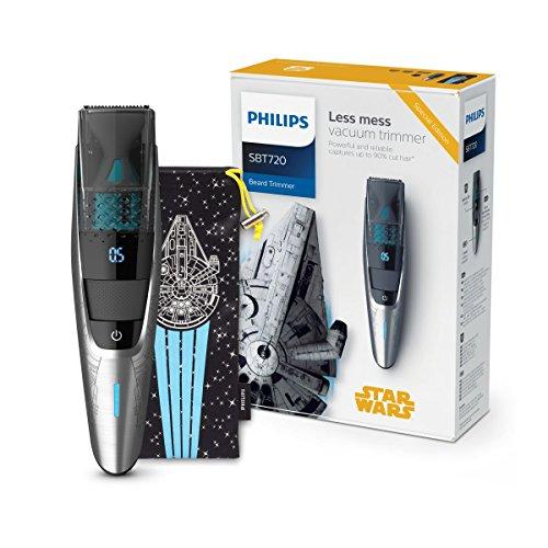 Philips Barbero con Sistema de aspiración SBT720/15 Set Recorte Facial, Negro, Plata, Normal