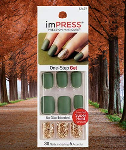 Kiss ImPress Press-On Manicure Matte Olive Green Nails 62427 Funky Town
