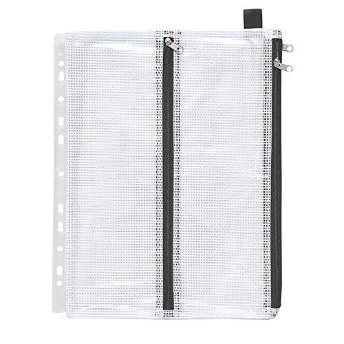 4-Kammer-Kleinkram-Beutel mit Abheftrand, A5, PVC gewebeverstärkt, Zip schwarz