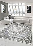 Designer und Moderner Teppich Kurzflor Teppich Orient in Grau Silber Beige Größe 200 x 290 cm
