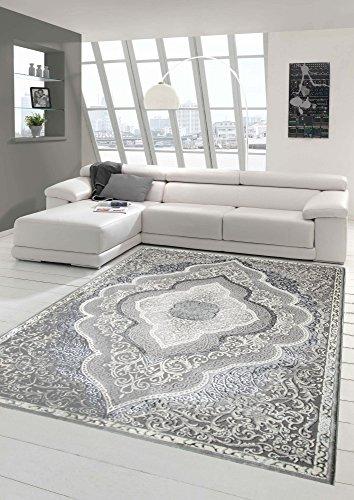 Designer und Moderner Teppich Kurzflor Teppich Orient in Grau Silber Beige Größe 80x150 cm