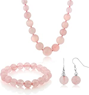10MM Simulated Rose Quartz Round Bead Necklace Bracelet and Earrings Set 20 Inch