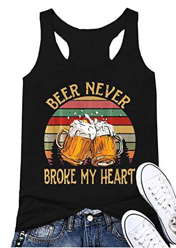 Beer Never Broke My Heart Racerback Tank Top Women Sleeveless Funny Beer Drinking Tees Vest (Black, S)