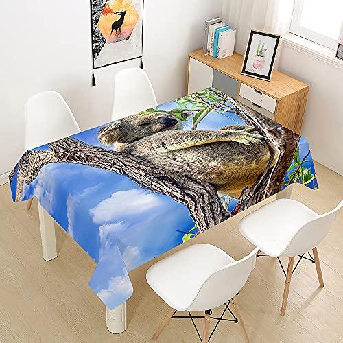 FANSU Manteles de Mesa Rectangular para Decorar, Impermeable Antimanchas Comedor Cuadrada de Impresión Koala Manteles para Cocina/Cena/Picnic Decoración (Cielo Azul,90x90cm)