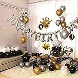 Ponmoo Palloncino Decorazioni Compleanno Oro Nero Argento, Kit Compleanno, Kit Festa Compl...