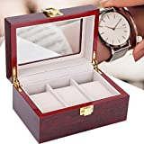 Watch Box, Wooden 3 Grid Watch Display Organizer, with Glass Lid Metal Hinge Watch Storage Box for Men Women Watch and Jewelry (Red)