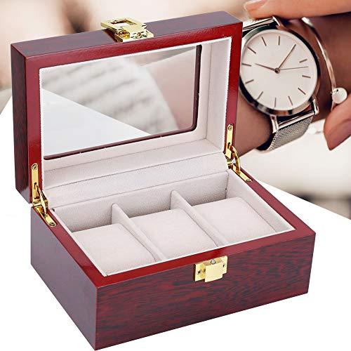 Caja de presentación de reloj de 3 rejillas, organizador de almacenamiento de...