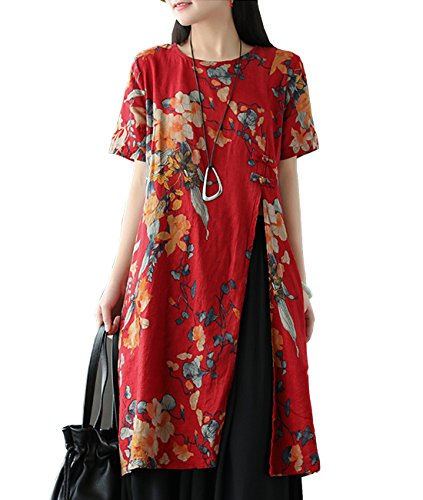YESNO E81 Women Casual Loose Floral Blouse Dress 100% Linen Chinese Traditional Frogs Side Split Short Sleeve Pocket