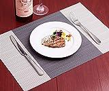 EKRPN Tovaglietta 6pcs PVC tovagliette Cucina Dinning Room Potholder Lavabili tovagliette Impermeabili Adatto per la Manutenzione dei tavoli (Color : Grey)
