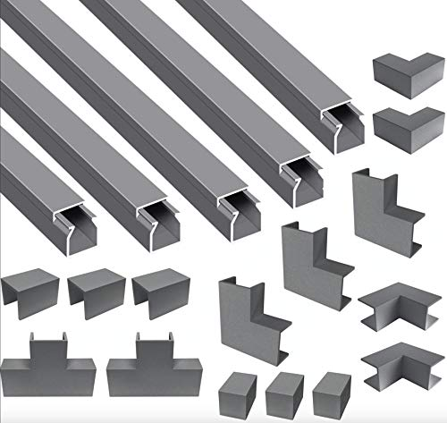 Cilson Maxi, 10m Kabelkanal, Selbstklebend, eckig (10 x 1 m Länge, 12x12 mm, inkl. Zubehör Kit, Grau/Grey) 10er Pack