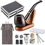 joyoldelf tabacco pipa kit & delicato custodia regalo confezione di legno tabacco pipa con copertura del vento, pipa supporto, spazzola per la pulizia e pipa accessori