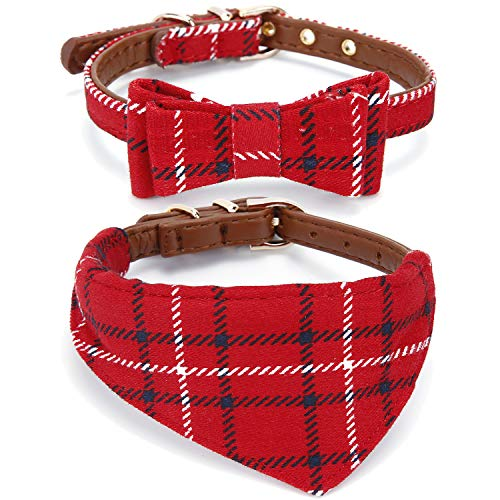 StrawberryEC Extra Small Dog and Cat Collar with Cute Plaid Bowtie. Adjustable 5 Holes to Also Fit...