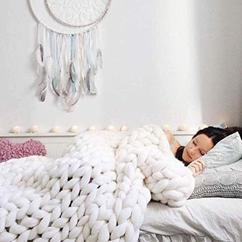 DIRUNEN Chunky Knit Blanket Handmade by Soft Knitting Throw Bed Bedroom Decor Bulky Sofa White 40'×59'