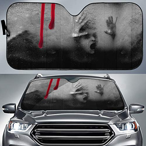 Cool Skull Men Women Car Truck SUV Sun Shade Horror Blood Help Girl Auto Front Window Windshield Sunshades Universal Size Fit -UV Protection (T-Window Windshield Sunshade 5)