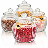 4 Tarros de Cristal con Tapa Grandes - 1,5 l - Bomboneras para Candy Bar -...
