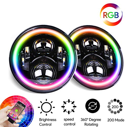 Omotor 7 Inch Jeep Wrangler RGB Halo LED Headlights Assemblies Cree with Multi Color Angle Eye...