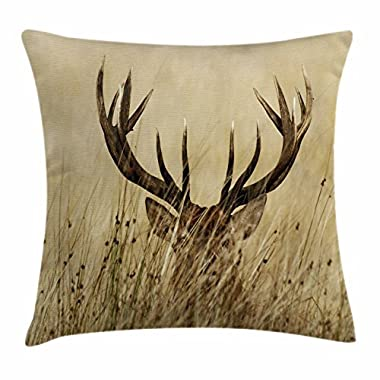 Ambesonne Antler Decor Throw Pillow Cushion Cover, Whitetail Deer Fawn in Wilderness Stag Countryside Rural Hunting Theme, Decorative Square Accent Pillow Case, 18 X 18 Inches, Brown Sand Brown