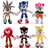 6 Piezas Anime 28Cm Sonic muñeco de Peluche Juguetes Dibujos Animados PP algodón Negro Azul Sombra S...