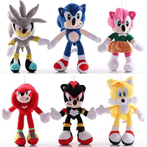 6 Piezas Anime 28Cm Sonic muñeco de Peluche Juguetes Dibujos Animados PP algodón Negro Azul Sombra Sonic Felpa Suave Juguete de Peluche para niños Conjunto de Regalos de cumpleaños