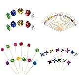 farbenfrohen Cocktail Stick Set (Pinwheels, Sonnenschirme, flauschig Bälle und Kunststoff Formen)
