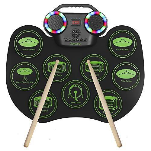 Batteria Elettronica E-Drum, Bonvvie Ricaricabile Tamburo Digitale Roll-up Portatile con 9 pad, MIDI DTC, Altoparlanti Integrati, Ideale per Bambini, Studenti, Principianti, Appassionati