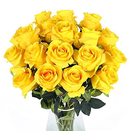 Cotemdery Künstliche Rosenblüten 10er Pack gefälschte Seidenrosen mit Langen Stielen Brautblumensträuße für Home Hotel Office Hochzeitsdekor(Gelb)