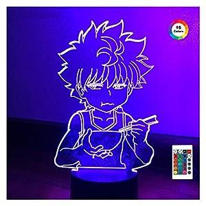 Lampe 3D Killua Hunter X Hunter Killua LED Light HXH LED Lumière de nuit ANIME ANIME CADEAU ACRYLIQUE NEON NEON CHAMBRE DE CHAMBRE DE CHAMBRE (Color : 16 color with remote, Size : A)