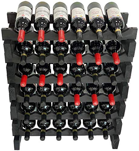 DisplayGifts Stackable Storage Wine Rack Stand, Wobble-Free, (36 Bottles, 6 X 6 Rows, Black Color)