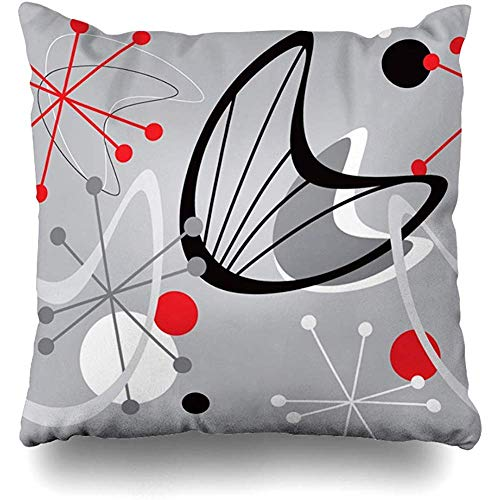 Moily Fayshow Throw Pillow Cover Funda Cuadrada 40X40 Cm Negro Gris Mediados De Siglo Moderno Vintage Rojo Abstracto Atómico Azulejo Boomerang