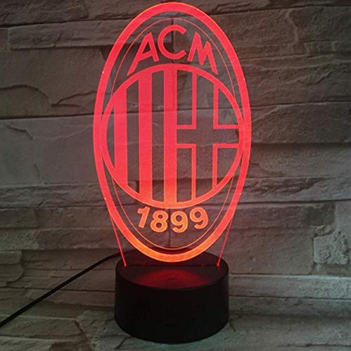 WCSMQT AC Milan 3D LED Nachtlicht Touch-Schalter Schlafzimmer Nachttischlampe mit USB-Netzkabel Kindergeschenk Tischdekoration