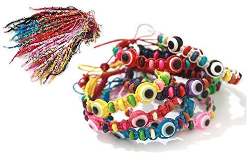 25 Bracelet ŒIL CHANCEUX charme de perle ethnique cordon MÉLANGÉ pour succès mode