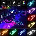 Auto LED Innenbeleuchtung, 4 Stück 72 LED Multicolor Musik Auto Innenbeleuchtung unter Dash Lighting Kit mit Sound Active Funktion und drahtloser Fernbedienung, DC 12V
