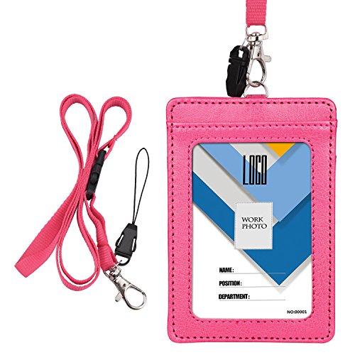 IDカードホルダー 縦 Wisdompro PU革 両面 ネックストラップ付き 社員証・名札・定期入れ・パスケース ピンク