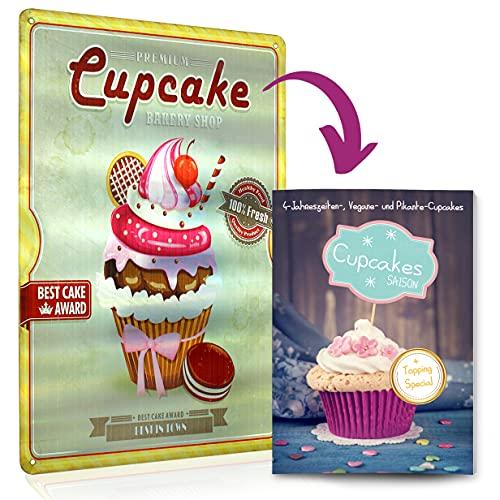 Cupcake eBook Back-Buch mit Topping Special inkl. Retro-Blechschild Cupcake Türschild Deko Geschenk-Set Cupcakes