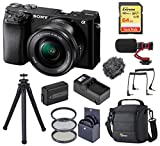 Sony Alpha A6100 Mirrorless Digital Camera, with 16-50mm Lens (Black) Audio Bundle with H&A Mic, Tripod, Bag, 64GB SD Card, Filter Kit, Battery, Charger