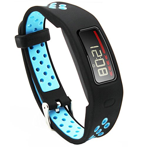 Elespoto Garmin Vivofit 1 gen Bänder, Klassische Armbänder Sportliches Ersatzband mit Verstellbarer Metallschließe für Garmin Vivofit Smartwatch Zubehör Uhrarmband (Black Blue)